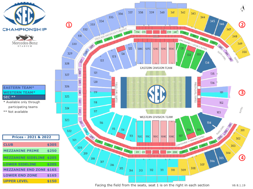 SEC championship game prices | stadium seat chart